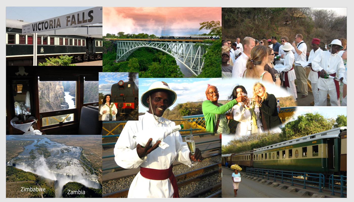 CHAMPAGNE ON THE BRIDGE OVER THE FALLS BETWEEN ZAMBIA AND ZIMBABWE