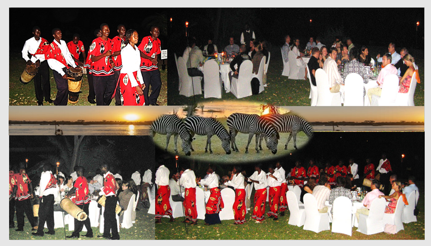 DINER BY THE RIVER SURROUNDED BY ZEBRA