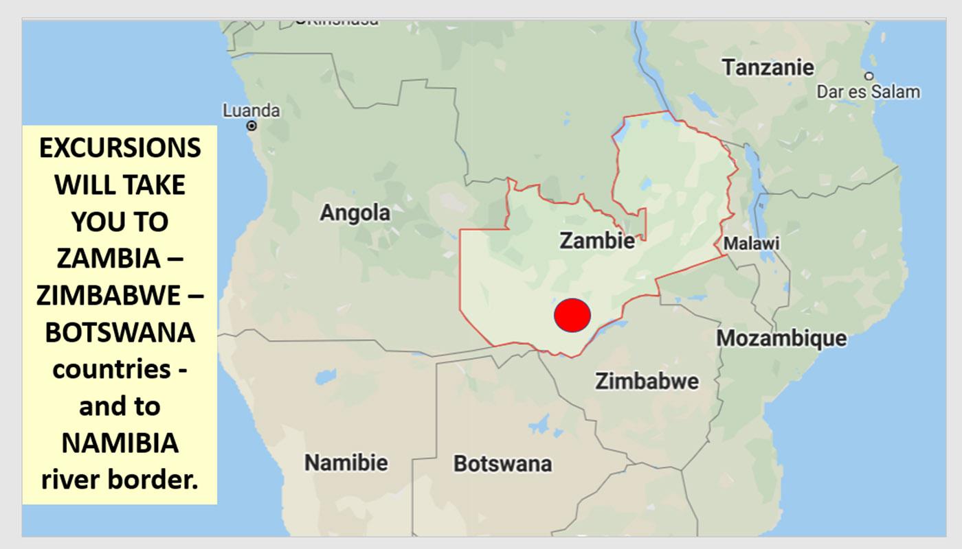 EXCURSIONS IN ZAMBIA – ZIMBABWE – BOTSWANA & NAMIBIA RIVER